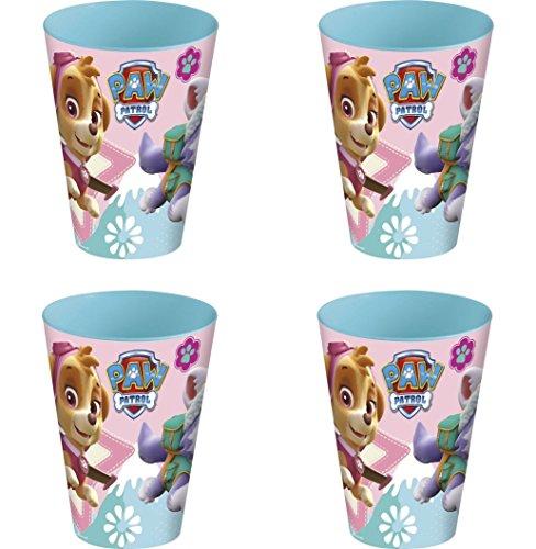 Theonoi 4 x Kinder Trinkbecher 260 ml/wählbar: Minnie - Princess - Frozen -PawPatrol Glas Kunststoff BPA frei - Geschenk für Mädchen - Minnie Mouse (Paw Patrol)