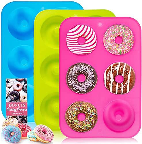 LSVJS NMM Paquete de 3 moldes de silicona para donuts, 6 moldes de donuts de cavidad, antiadherentes para hornear, donuts Pan, bagels, pasteles (azul, rosa y verde)