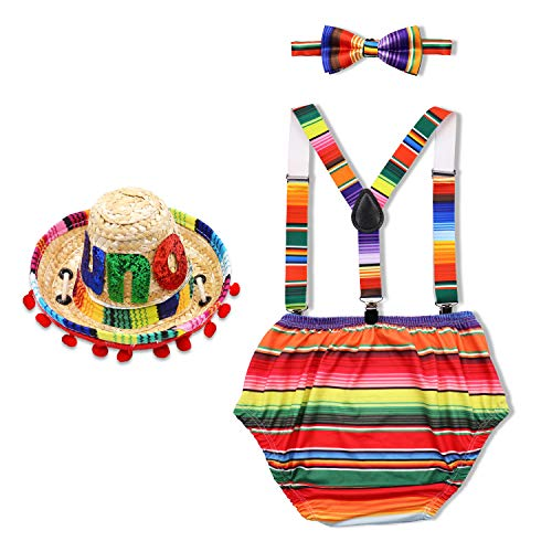 UNO 1st Birthday Cake Smash Outfit Cinco de Mayo Fiesta birthday Mexican Theme Party Supplies Costume Photo Props 4PCS Outfits Adjustable Y Back Suspender Bloomers Bowtie Straw Mini Sombrero Mexican H