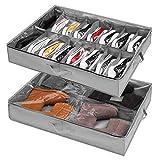 Caja de almacenamiento para zapatos debajo de la cama, juego de 2, se adapta a 16 + 4 pares de botas en total, organizador para almacenamiento de zapatos debajo de la cama con asas reforzadas