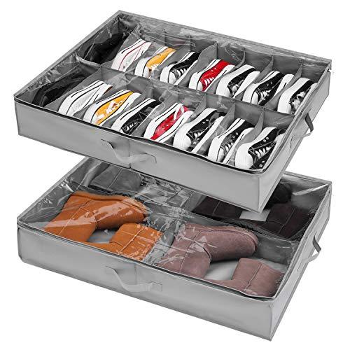 Organizador Zapatos debajo Cama 2 Pcs, para 16 + 4 Pares de Botas, Almacenaje Zapatos bajo Cama y Organizar Zapatos para Parte Superior del Armario, Cajas para Guardar Zapatos con Ventana Transparente