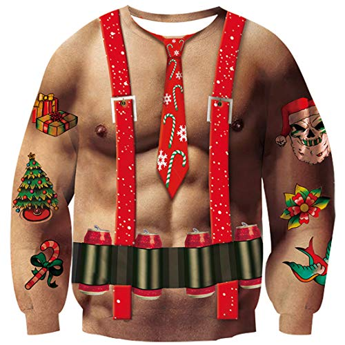 Goodstoworld Muskel 3D Gedruckt Karnevalsbier Weihnachtspullover Herren Damen Funny Ugly Sweatshirt Langarm Runder Kragen Weihnachtspulli Jumper Pullover Muskel Urkomisch XL
