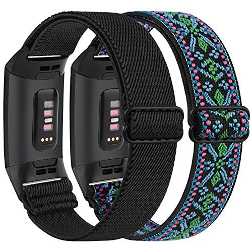 Vancle 2 Stück Elastische Armband Kompatibel für Fitbit Charge 3 Armband/Fitbit Charge 4 Armband, Verstellbares Nylon Dehnbar Ersatzarmband für Fitbit Charge 3/Charge 4/Charge 3 SE (Schwarz+Böhmen)