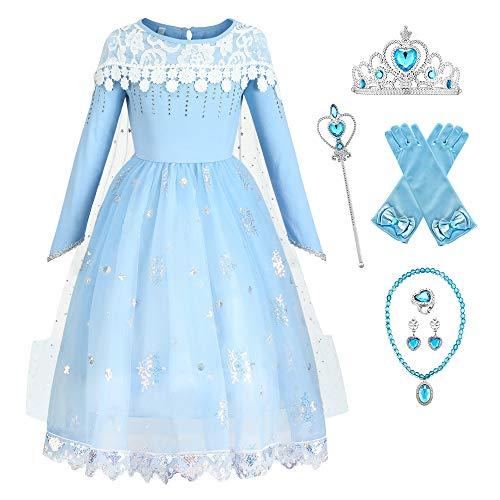 O.AMBW Vestidos de Princesa Azul con Capa Extraible de Arrastre como Novia Bodas Disfraces y Accesorios para Regalar Reyes de Navidad Cosplay Elsa Frozen 2 Halloween para Nias de 2 a 9 aos