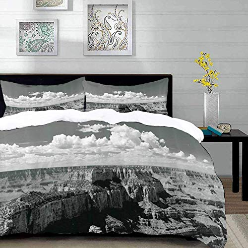 667 Nostalgic Photo of Ethnic Finding Grand Canyon Peaks in National Park with Cloud,Teal White,Microfibre Duvet Cover Set 230 x 220cm with 2 Pillowcase 50 X 80cm