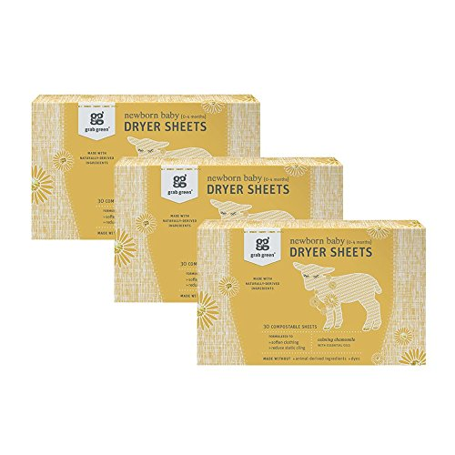 Grab Green {Stage 1} Natural Newborn Baby Laundry Dryer Sheets {0-4 Months}, Compostable, Free of Wax & Animal-Derived Ingredients, Calming Chamomile Fragrance—with Essential Oils, 30 Sheets (3-Pack)