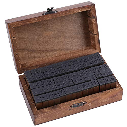 Tosnail 70 Pieces Rustic Mini Wood Rubber Stamps Letter Stamps Alphabet Stamps with Storage Box for Scrapbook, Card Making, Crafts - Script Type
