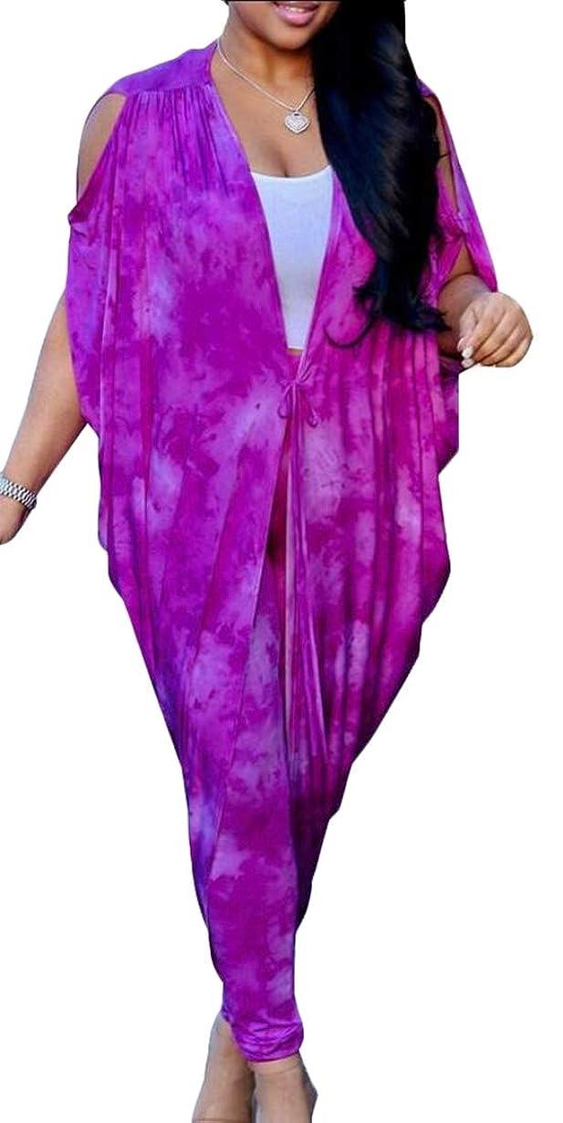 使役八百屋さん申し立てる女性2ピース服装カジュアルバットウィングスリーブケープカバーアップスキニーロングパンツセット