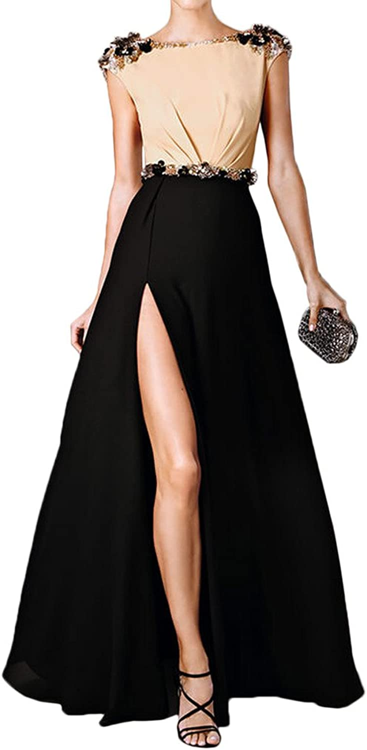 MILANO BRIDE Unique Cap Sleeves Backless Slit Beads Evening Dress party Gown