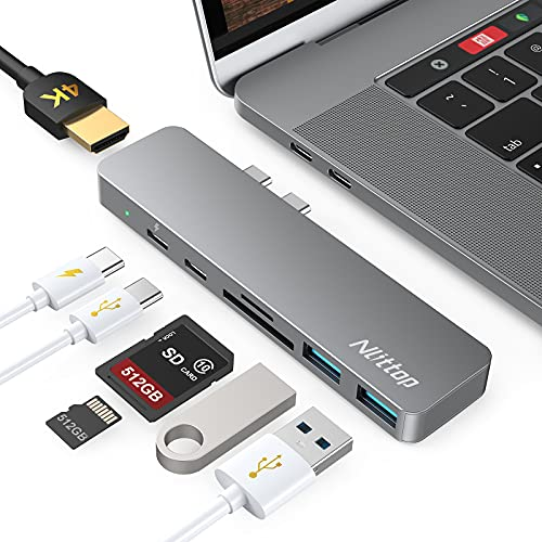 HUB USB C 7 En 2, Adaptador USB C HUB Macbook Air y Pro a 2 USB 3.0, 4K HDMI, Lector de Tarjeta SD TF, 1 USB C Thunderbolt 3 100W PD y 1 Puerto USB C para Macbook Pro y Air 2021 2020 2019