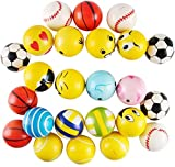 Liberty Imports 24 Pack Mini Foam PU Sports Emoji Funny Face Soft Toy Stress Balls Variety Pack for Kids and Adults Party Favors (Assorted Styles)