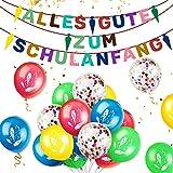 iZoeL Schuleinführung Schulanfang Einschulung Banner Deko Alles Gute Zum Schulanfang Filz Girlande + 15 Konfetti Luftballon für Junge Mädchen