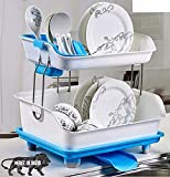 walk in wonders Dish Drainer Rack 2 Layer Drying Rack with Water Removing Tray Sink Outer Unbreakable Plastic (Blue)