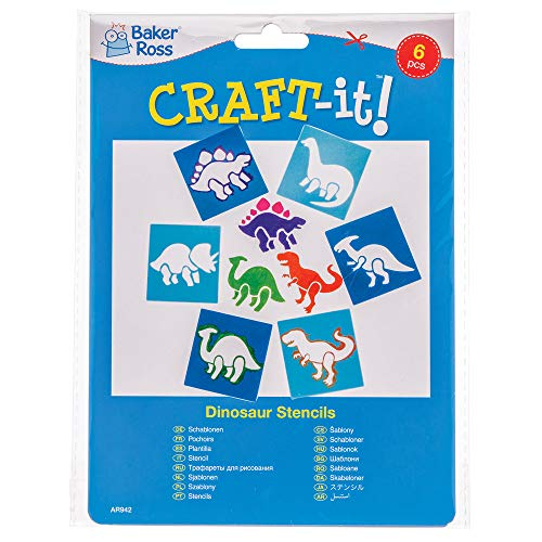 Baker Ross Dinosaur Stencil Set for Arts and Crafts — Novelty Toys for Kids, Perfect Party, Loot or Prize Bag Filler (Pack of 6)