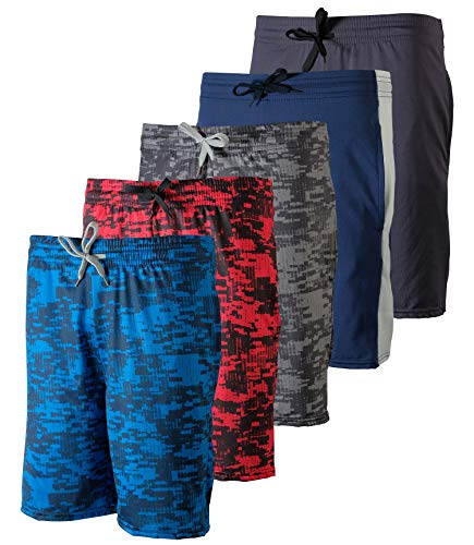 5 Pack: Big Boys Girls Youth Teen Printed Shorts Camo Mesh Dry-Fit Sport Active Athletic Knit Mesh Basketball Soccer Exercise Running Lacrosse Tennis Performance Gym Teen Clothing-St 5,XL (16/18)