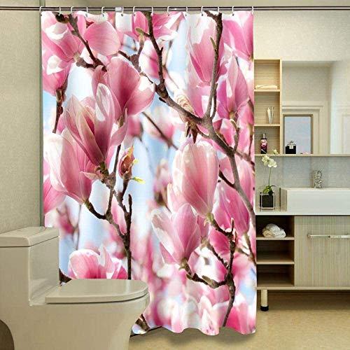 XINKONG Duschvorhänge Festive Rosa Pfirsich Blossom Muster wasserdicht Stoff Duschvorhänge Waschbar Badezimmer Produkt Anpassbare (Color : C, Size : W100xH180cm)