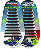 Diagonal One No Tie Shoelaces for Kids and Adults - Elastic Silicone Laces Black