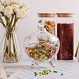 ComSaf Bonboniere mit Deckel Ф14cm, Zuckerdose aus Glas Klein, Lebensmittelechter Glasbehälter für Snacks - 5