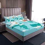 Juego de ropa de cama de ballena para niños y niñas, diseño de oso polar de pingüino, juego de sábanas para cama de invierno con 2 fundas de almohada, tamaño King