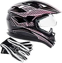 Dual Sport Helmet Combo w/Gloves - Off Road Motocross UTV ATV Motorcycle Enduro - Pink, Black - XL