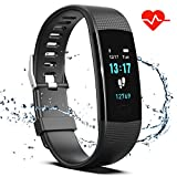 Saikee Fitness Tracker, Activity Tracker Watch with Heart Rate Monitor, Sleep Monitor, Step Counter Fitness Watch IP67 Waterproof Pedometer, Compatible with iPhone & Android (Black)