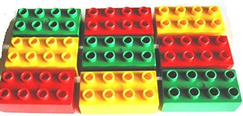 LEGO DUPLO - 9 Steine mit 2x4 Noppen (3 gelbe / 3 rote / 3 grüne) - 8-er Steine