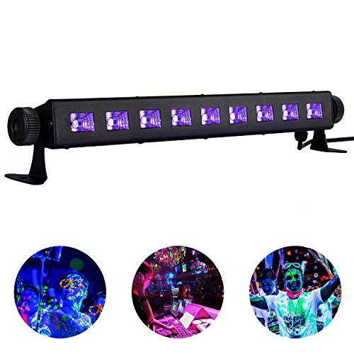 UV Schwarzlicht Lamp,LACYIE 27W 9 LED Schwarzlichtlampe Röhre 360°Drehbare Black Light Lichteffekt Partylicht Bühnenscheinwerfer für DJ Disco Party Club Bar Karneval Halloween Weihnachten Hochzeit