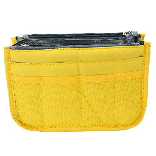 バッグインバッグ 小さめ バッグ 軽い 大容量 収納 無地 ポーチ トリプルファスナー イエロー