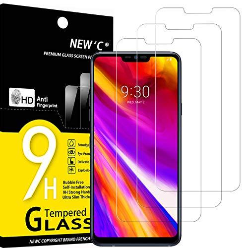 NEW'C 3 Pezzi, Vetro Temperato Compatibile con LG G7 ThinQ, Pellicola Prottetiva Anti Graffio, Anti-Impronte, Durezza 9H, 0,33mm Ultra Trasparente, Ultra Resistente