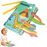 LUCKYPAW Soft Baby Cloth Book, Non-Toxic Animal Tails Activity Books with Crinkle Paper, Early Educational Development Interactive Toys, Best for Baby Girls, Boys, Toddlers and Infants (Dinosaur)