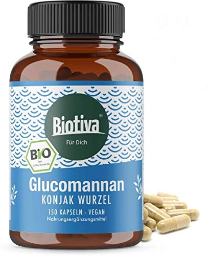 Glucomannan hochdosiert Bio 150 Kapseln - Konjak-Wurzel - Trägt im Rahmen einer kalorienarmen...