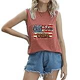 """Mayntop Camiseta de manga corta para mujer con diseño de bandera de Estados Unidos con texto en inglés """"God Bless"""" para el 4 de julio, A-óxido Rojo, 38"""