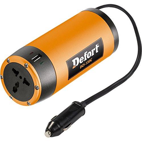 Defort Spannungswandler Wechselrichter DCI-150C DC 12V auf AC 230V Inverter mit USB-Verbindung für Aufladung von Handys und Anderen portablen Geräten