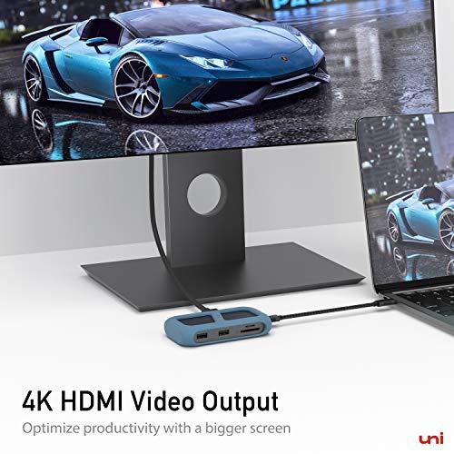 uni USB C Hub, USB-C 8 in 1 Hub mit abnehmbarem Stecker und Silikonhülle, Unterstützung von 4K HDMI, 1000 Mbps, PD 100W und mehr, Kompatibel für iPad Pro 2018, MacBook, Galaxy S20 und mehr