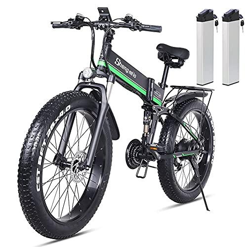 Vikzche Q Rower elektryczny 26 cali składany rower śnieżny z grubą oponą 12,8 Ah akumulator litowo-jonowy 21 prędkości rower plażowy Cruiser rower górski z tylnym siedzeniem (MX01 zielony z dwoma bateriami)