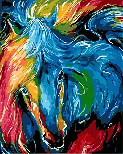 Zhonchng DIY Schilderen door Aantal Kits,Kleur Paard Hoofd Olieverf Tekenen Canvas met Borstels Kerst Decor Decoraties Geschenken - 16 * 20 Inch Met frame