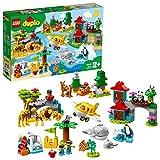 LEGO-DUPLO Les animaux du monde Jouet d'Aventure Incluant 15 Animaux pour Tout Petits, Fille et Garçon dès 2 Ans, 121 Pièces de Construction 10907