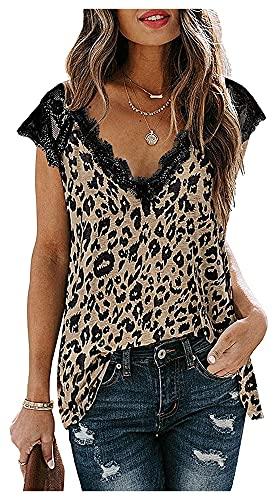 Rod Holders Camisas de Verano de la Mujer con el botón Suelto de la túnica para Damas (Color : Leopard2, Size : XXL)