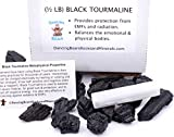 Dancing Bear Black Tourmaline Crystals Bulk (1/2 LB), Includes: (1) Selenite stick & Information cards, Rough Raw Natural Stones for Good Vibes, Reiki Energy, EMF & Radiation Protection, Made in USA