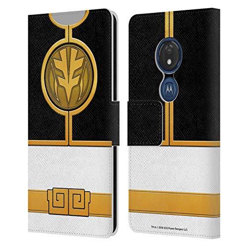 Head Case Designs sous Licence Officielle Power Rangers Ranger Blanc Costumes Rétro Coque en Cuir à Portefeuille Compatible avec Motorola Moto G7 Play