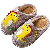 LÄTT LIV Kids Cute House Slippers Cozy Dinosaur Slippers Boys Girls Warm Plush Winter Indoor Shoes Non-Slip(Pink,8-9 Toddler)