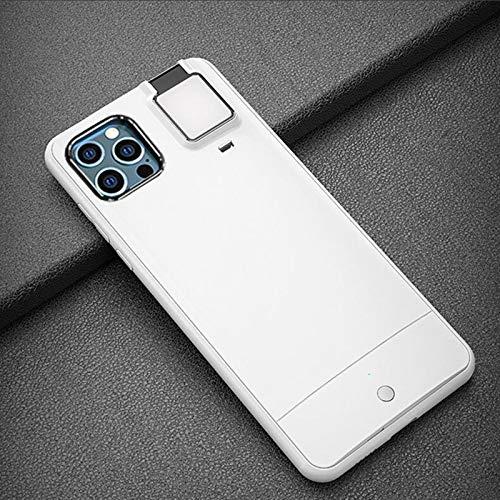 HHZY Funda Compatible con iPhone 12 Pro MAX Carcasa Anillo de Luz Selfie con 3 Modos de Brillo USB Recargable Selfie Ring Light Anti Choque Back Cover,Blanco,11 Pro