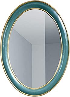 Qing MEI American Retro Oval Wall Mirror Bathroom Vanity Mirror Bedroom Vanity Mirror Bathroom Mirror Bathroom Wall Mirror (Size: 35X73X2CM)
