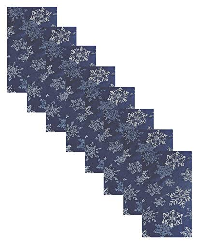 Newbridge Fancy Metallic Snowflake Christmas No-Iron Soil Resistant Fabric Holiday Napkins, Sparkling Snowflakes Lurex Woven No Iron Easy Care, Stain Release Napkins, Set of 8 Napkins, Navy/Silver