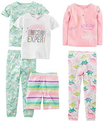 Simple Joys by Carter's - Pijamas enteros - Juego de pijama de algodón de ajuste cómodo de 6 piezas. - para bebé niña multicolor Dinosaurio, arco iris, unicornio. 4 Years