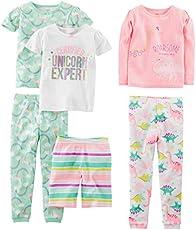 Simple Joys by Carter's Baby Girls' Toddler 6-Piece Snug Fit Cotton Pajama Set, Dinosaur, Rainbow,Unicorn, 4T