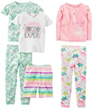 Simple Joys by Carter's Baby Girls' Toddler 6-Piece Snug Fit Cotton Pajama Set, Dinosaur, Rainbow,Unicorn, 3T