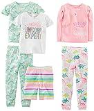 Simple Joys by Carter's Baby Girls' 6-Piece Snug Fit Cotton Pajama Set, Dinosaur, Rainbow,Unicorn, 12 Months