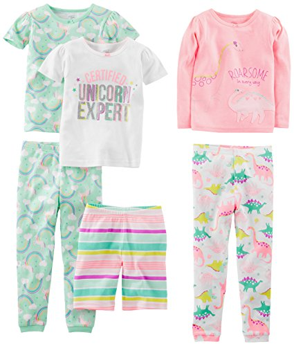 Simple Joys by Carter's Baby Girls' 6-Piece Snug Fit Cotton Pajama Set, Dinosaur, Rainbow,Unicorn, 18 Months