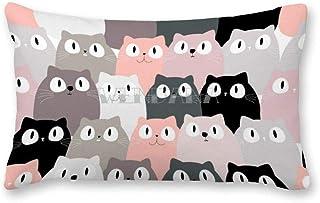 happygoluck1y - Funda de cojín rectangular con diseño de gato rosa sin costuras, 30 x 50 cm, fundas de almohada decorativas de lona para sillas, dormitorios y niños